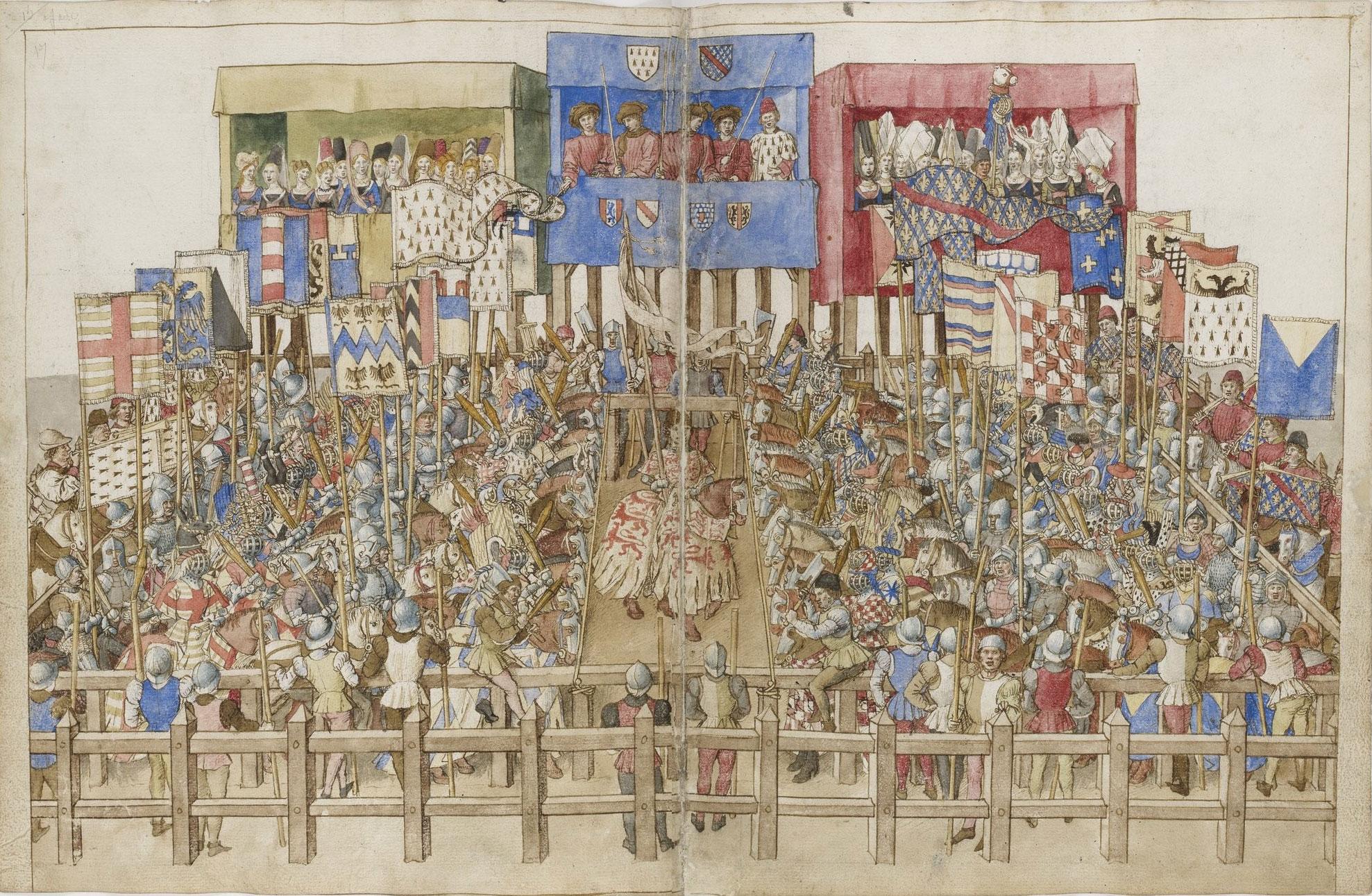 図2.トゥルノワの光景(15世紀頃)  Anjou, Traité de la forme et devis comme on peut faire les tournois. 1401-1500. (BNF Gallica)