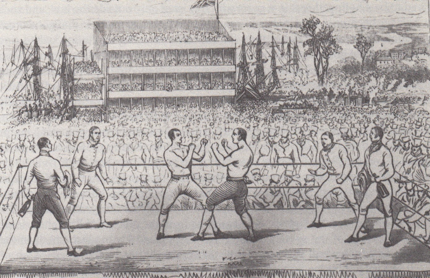 図1.ウスターの競馬場で行なわれたスプリング対ラングハム戦。後方には川に浮かべた観戦用の船もみえる。 Dennis Brailsford, Bareknuckles: A Social History of Prize-Fighting, Lutterworth Press, 1988, p.81
