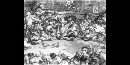 図2.闘鶏に興じるアルバマール・バーティ卿 ウィリアム・ホガースの版画『闘鶏場』1759年より