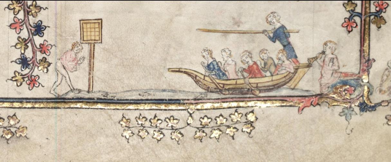 図1.川面で的当てあそびに励む若者たち  『アレクサンダー物語』(1338〜1344年頃Bodley 264, fol. 89r)
