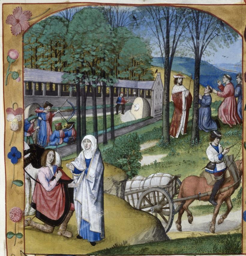 図3.「バット」でクロスボウの練習に励む若者たち。右手には国王に寄り添うごますりども、手前には女性にひざまずく騎士がいる。1500年頃の写本(Royal 19 C VIII  f.41)