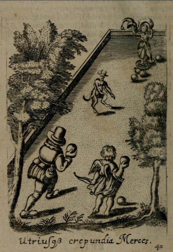 図5.ボウリング場であそぶ者を風刺する寓意画Francis Quarles, Emblems, London, 1696, p.40