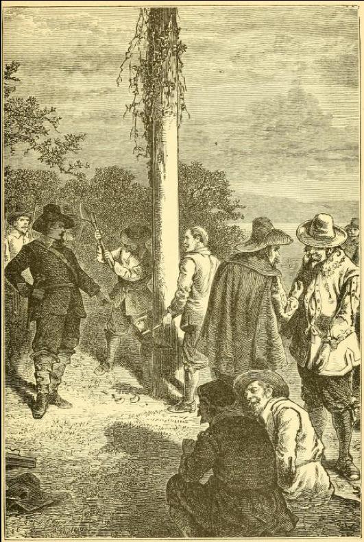 図6.モートンを捕らえたあと、メイポールを切り倒すピューリタンたち  Hezekiah Butterworth, Popular History of Boston, Boston, 1893, p.73