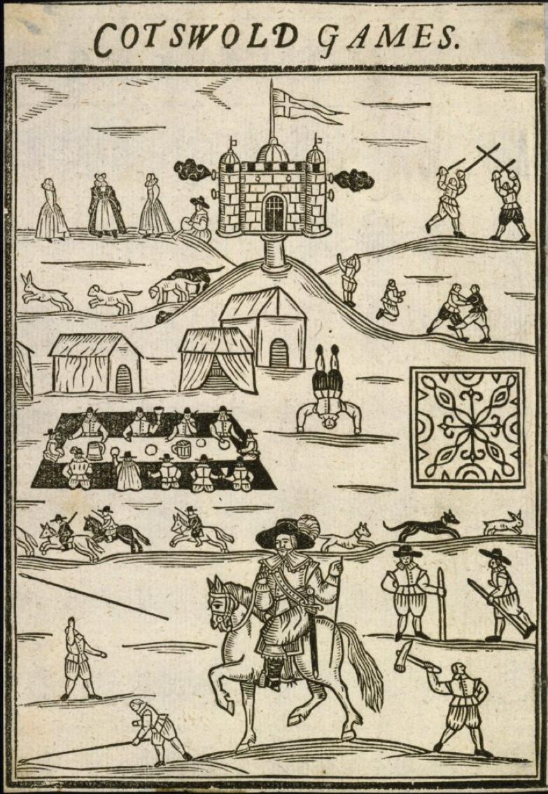 図8.コッツウォルド・オリンピック・ゲームズ。1612年頃に始まり、現在では英国オリンピックの「最初の胎動」とも評される。 Robert Dover, Annalia Dubrensia, 1877