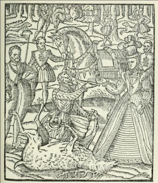 図11.捕獲した鹿を所定の流儀に従って解体し、検分後の肉をエリザベス女王に献じている場面 George Turberville, The Noble Art of Venerie or Hunting, 1575, p.133