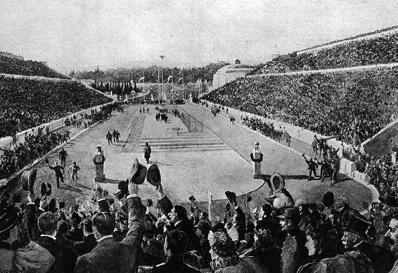 図2.1896年の第1回オリンピックのマラソンでルイスが先頭で会場に戻ってきたところ Official Report Olympic Games, B.C. 776-A.D. 1896, New York, 1896, p.97
