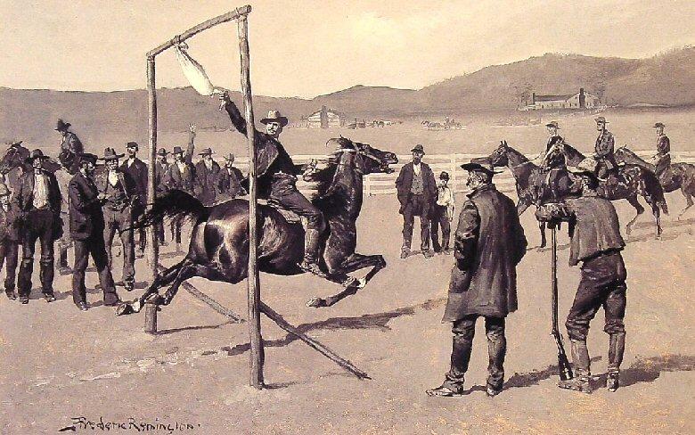 図1.『ハーパーズ・ウィークリ』誌に掲載された「鵞鳥引き」(1894年2月3日) Wikimedia Commons