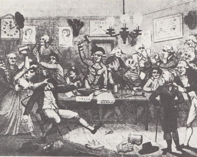 図3.ピュジリスティック・クラブに集うジェントルマン。時計の針は12時をまわっている。酩酊する男性を介抱しているのは、おそらく娼婦。Dennis Brailsford, Bareknuckles: A Social History of Prize-Fighting, Lutterworth Press, 1988, p.92