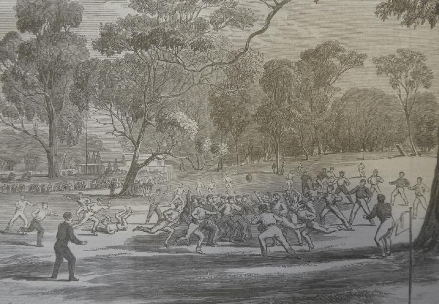 図4.1866年のメルボルンでのフットボール Illustrated Melbourne Post, July 27, 1866